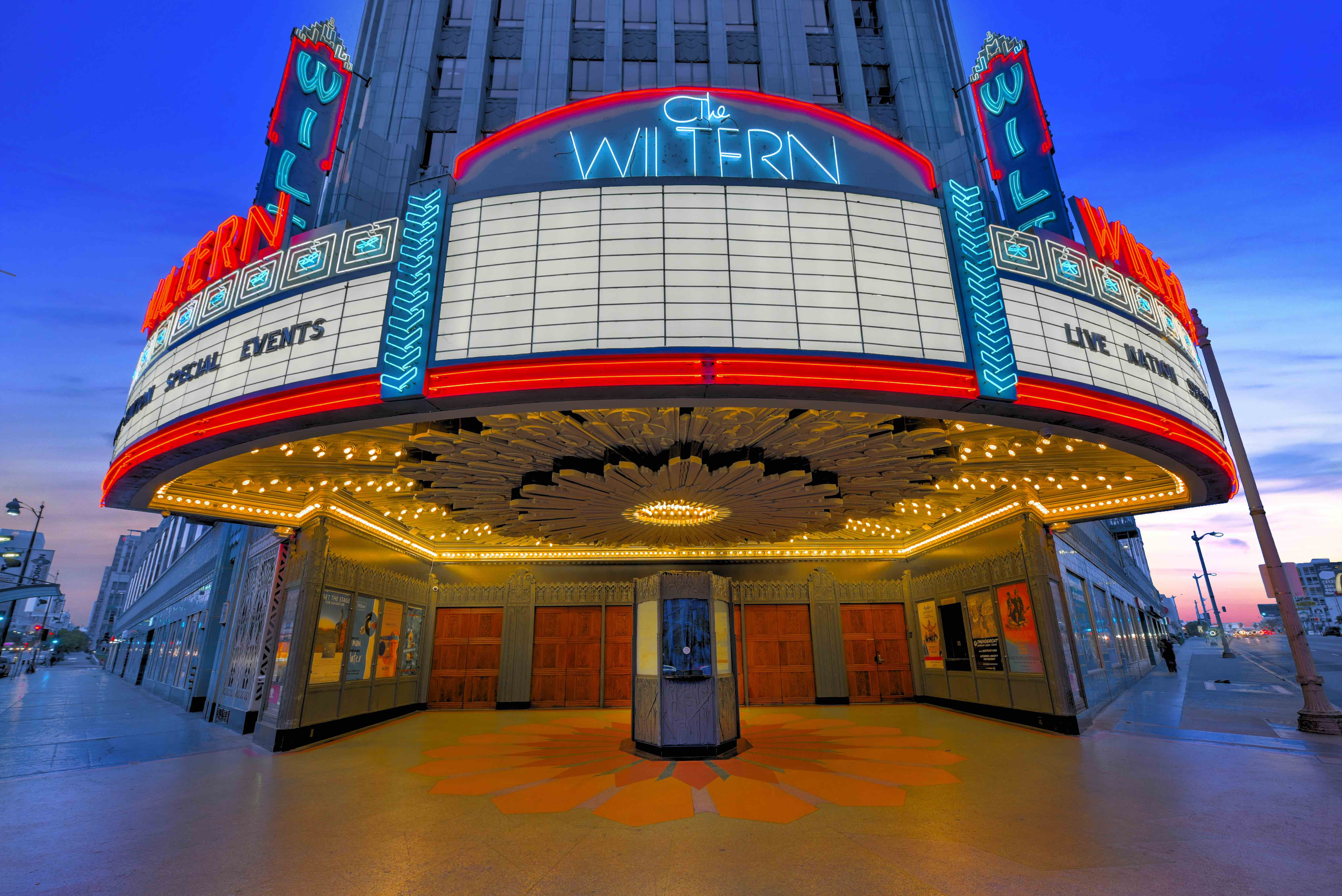 Entrance and marquee to The Wiltern, Los Angeles