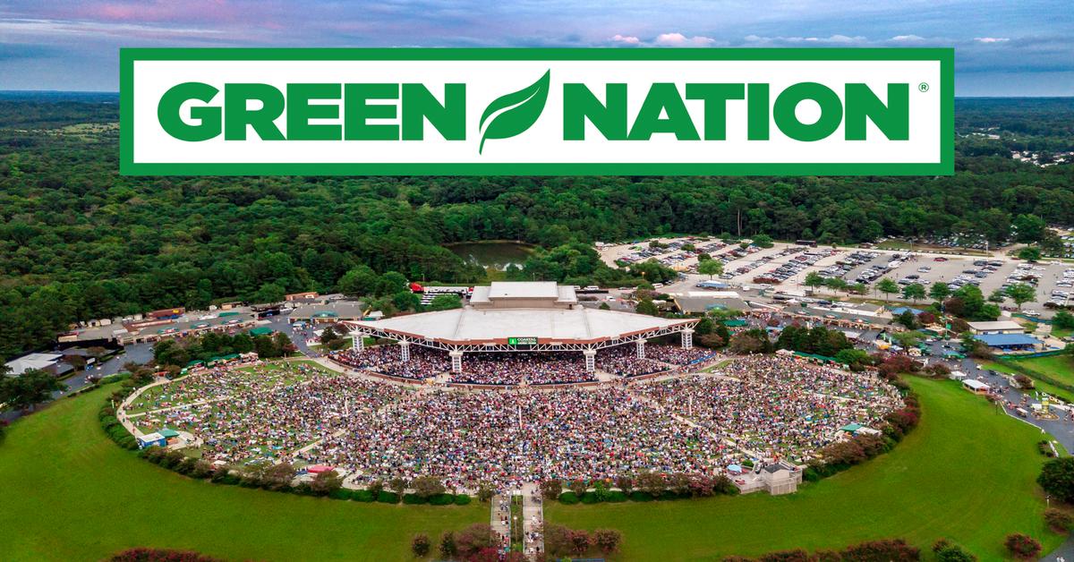 live nation green nation logo over live nation amphitheater