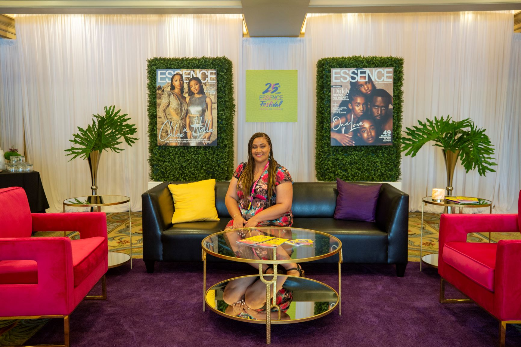Nicole Hutchison of Mosswood Events poses at the 25th Essence Festival