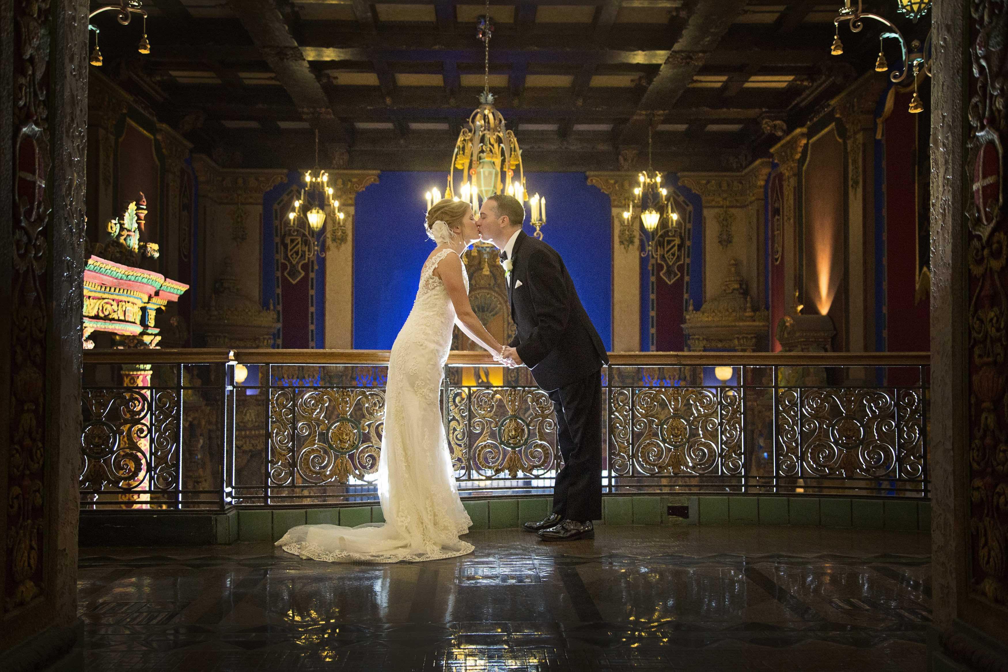 newlyweds kiss wedding live nation venue
