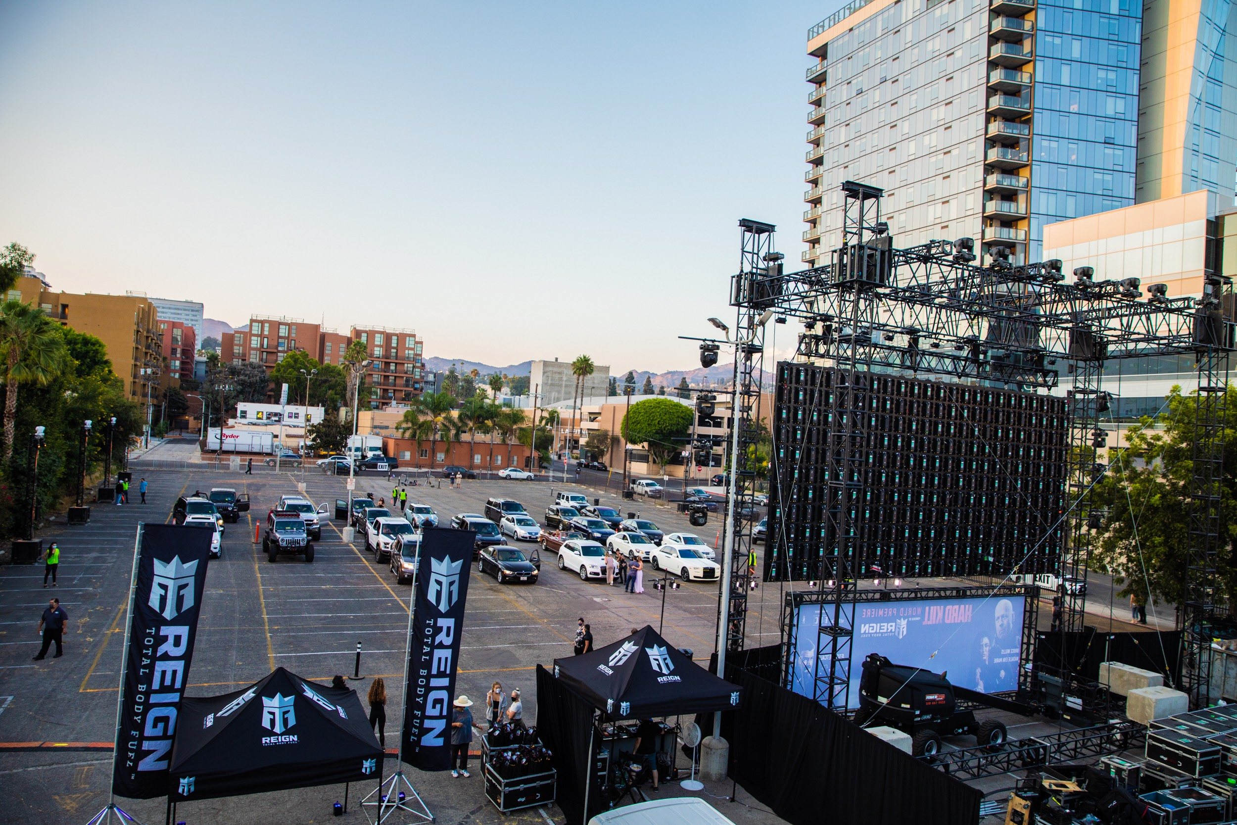Panoramic view Hollywood Palladium lot set up for Hard Kill premiere Reign Total Body Fuel signage